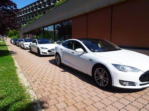 Tesla Autoflotte beim Hotel Sonnreich für RETTER EVENTS