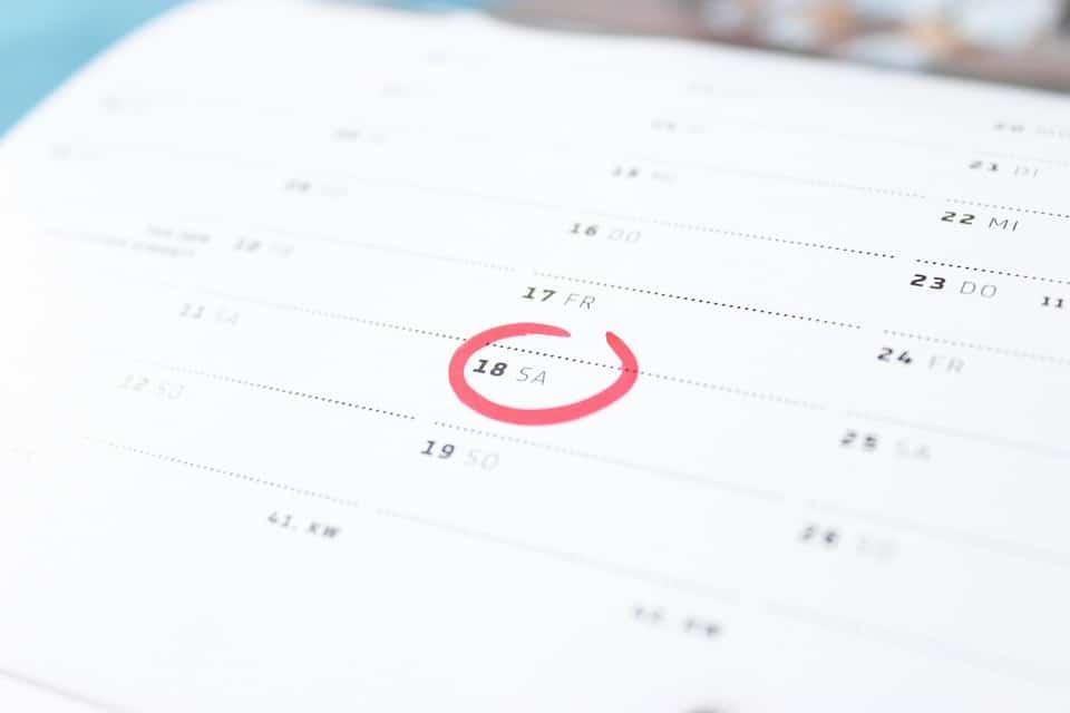 Kalender mit Pflichtterminen